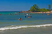 Swimming on beach in Georgian Bay (Lake Huron) Great Lkaes.<br />