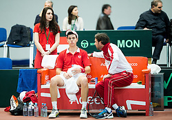 Guillauime Couillard (R) and Lucas Catarina of Monaco during Day 1 of the Davis Cup Slovenia vs Monaco competition, on February 3, 2017 in Tennis Arena Tabor, Maribor Slovenia. Photo by Vid Ponikvar / Sportida