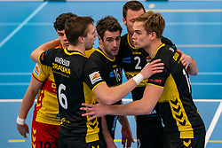 Nico Manenschijn #6 of Dynamo, Mats Kruiswijk #16 of Dynamo, Jeroen Rauwerink #2 of Dynamo, Wessel Blom #14 of Dynamo celebrate in the second round between Sliedrecht Sport and Draisma Dynamo on February 29, 2020 in sports hall de Basis, Sliedrecht