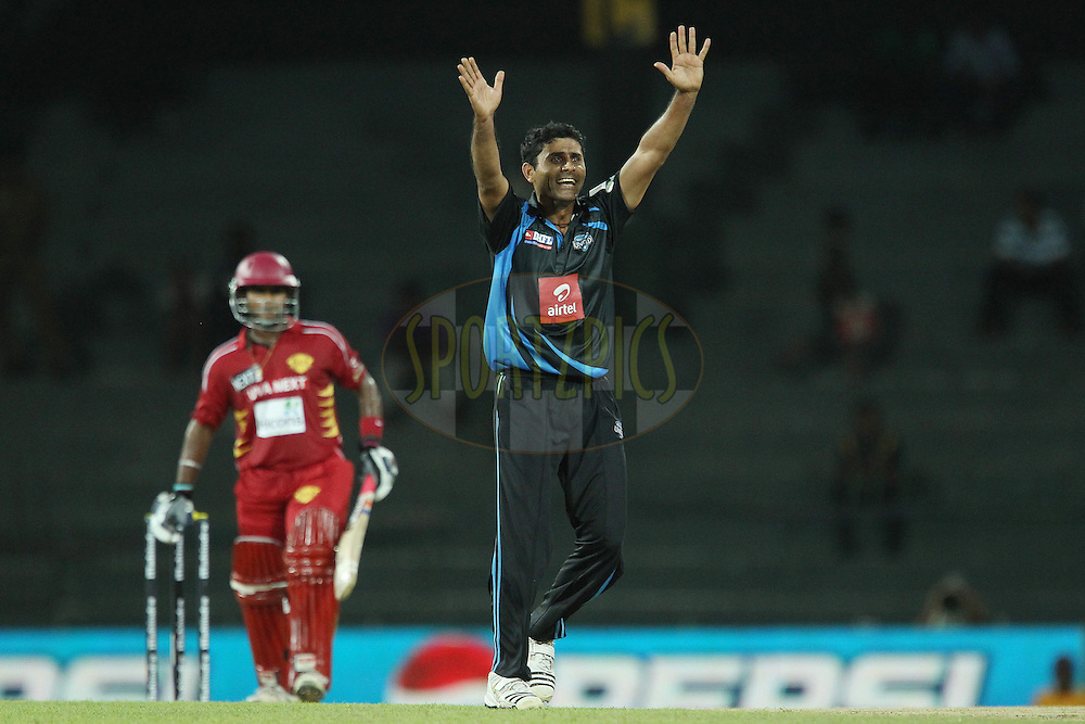 Abdul Razzaq celebrates the wicket of Dilshan Munaweera during the first Semi Final Match of the Sri Lankan Premier League between Uva Next and Wayamba United held at the Premadasa Stadium in Colombo, Sri Lanka on the 28th August 2012. .Photo by Ron Gaunt/SPORTZPICS/SLPL