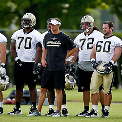 May 31, 2012; Metairie, LA, USA; New Orleans Saints offensive line and running game coach Aaron Kromer during organized team activities at the team's practice facility. Mandatory Credit: Derick E. Hingle-US PRESSWIRE