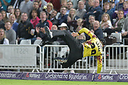 Six save by Michael Leask during the NatWest T20 Blast Quarter Final match between Notts Outlaws and Somerset County Cricket Club at Trent Bridge, West Bridgford, United Kingdom on 24 August 2017. Photo by Simon Trafford.