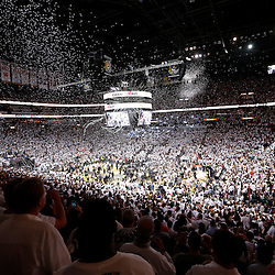 Jun 20, 2013; Miami, FL, USA; Miami Heat and their fans celebrate after game seven in the 2013 NBA Finals at American Airlines Arena. Miami defeated San Antonio Spurs 95-88 to win the NBA Championship. Mandatory Credit: Derick E. Hingle-USA TODAY Sports
