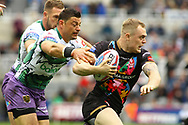 Mark Minichiello (L) of Hull FC tackles Adam Swift (R) of St Helens during the Betfred Super League match at the Dacia Magic Weekend at St. James's Park, Newcastle<br /> Picture by Stephen Gaunt/Focus Images Ltd +447904 833202<br /> 20/05/2017