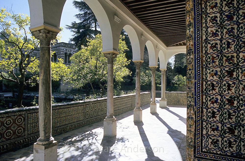 Moorish (Arabic) architecture in the Alcazaba in Seville, Spain