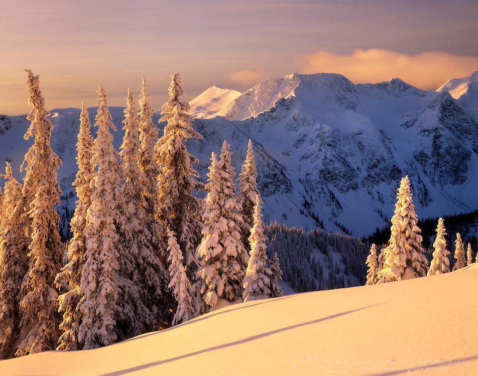 Winter dawn in the Cariboo Mountains British Columbia