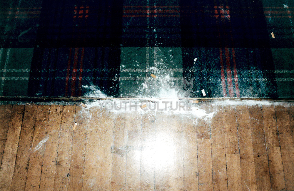 View of white powder on flooring