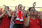 Nottingham Forest fans during the Sky Bet Championship match between Brighton and Hove Albion and Nottingham Forest at the American Express Community Stadium, Brighton and Hove, England on 7 August 2015.