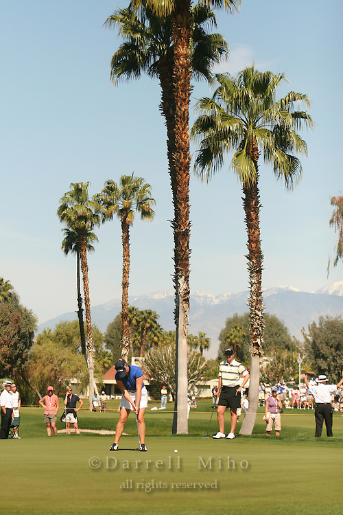 Apr. 2, 2006; Rancho Mirage, CA, USA; Morgan Pressel putts on the 5th green during the final round of the Kraft Nabisco Championship at Mission Hills Country Club. ..Mandatory Photo Credit: Darrell Miho.Copyright © 2006 Darrell Miho .