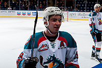 KELOWNA, CANADA - JANUARY 30: Dillon Dube #19 of the Kelowna Rockets stands at the bench against the Medicine Hat Tigers on January 30, 2017 at Prospera Place in Kelowna, British Columbia, Canada.  (Photo by Marissa Baecker/Shoot the Breeze)  *** Local Caption ***
