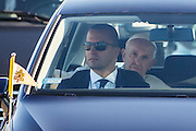 Krakow 30.07.2016 Swiatowe Dni Mlodziezy. Poranny przejazd Papieza przez Krakow. n/z Papiez Franciszek Fot: Krystian Maj/FORUM