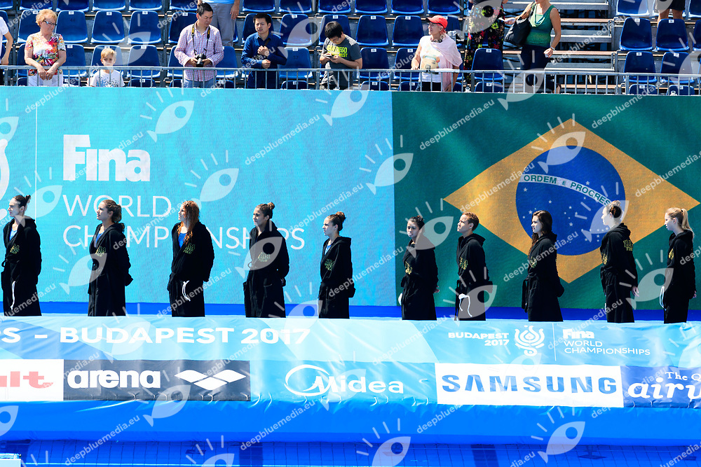 Team Brasil<br /> BRASIL VS CHINA- Water Polo - Preliminary round<br /> Day 16/07/2017 <br /> XVII FINA World Championships Aquatics<br /> Alfred Hajos Complex Margaret Island  <br /> Budapest Hungary July 15th - 30th 2017 <br /> Photo @Marcelterbals/Deepbluemedia/Insidefoto