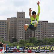 Jinzhe Li, China, in action in the Men's Long Jump competition during the Diamond League Adidas Grand Prix at Icahn Stadium, Randall's Island, Manhattan, New York, USA. 14th June 2014. Photo Tim Clayton