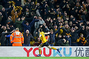 GOAL - Wolverhampton Wanderers forward Diogo Jota (18) celebrates 2-0 during the The FA Cup match between Wolverhampton Wanderers and Manchester United at Molineux, Wolverhampton, England on 16 March 2019.