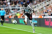 Mohamed Diame (#10) of Newcastle United plays a long pass during the Premier League match between Newcastle United and Arsenal at St. James's Park, Newcastle, England on 15 September 2018.