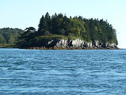 Casco Bay off South Harpswell Maine, as seen from the bow of a Boston Whaler.