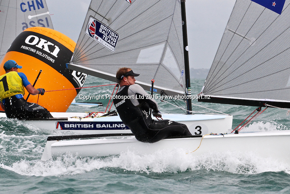 Race 8 Finn Gold Cup Takapuna - Josh Junior (NZL) with Giles Scott (GBR) to leeward