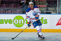 PENTICTON, CANADA - SEPTEMBER 9: Sahvan Khaira #86 of Edmonton Oilers against the Winnipeg Jets on September 9, 2017 at the South Okanagan Event Centre in Penticton, British Columbia, Canada.  (Photo by Marissa Baecker/Shoot the Breeze)  *** Local Caption ***