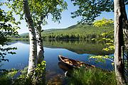 Canoeing on Lefferts Pond in Chittenden, Vermont.