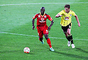 Adelaide United's Bruce Djite runs the ball during the Round 22 A-League football match - Wellington Phoenix V Adelaide United at Westpac Stadium, Wellington. Saturday 5th March 2016. Copyright Photo.: Grant Down / www.photosport.nz