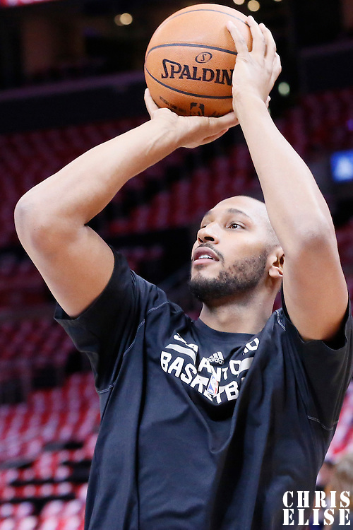 19 April 2014: San Antonio Spurs center Boris Diaw (33) warms up prior to the Los Angeles Clippers 107-92 victory over the San Antonio Spurs, during Game One of the Western Conference Quarterfinals of the NBA Playoffs, at the Staples Center, Los Angeles, California, USA.