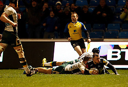Josh Charnley of Sale Sharks scores a try - Mandatory by-line: Matt McNulty/JMP - 03/03/2017 - RUGBY - AJ Bell Stadium - Sale, England - Sale Sharks v Northampton Saints - Aviva Premiership