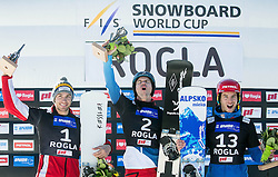 28.01.2017, Course Jasa, Rogla, SLO, FIS Weltcup Snowboard, Rogla, Parallel Riesenslalom, Herren, Siegerehrung, im Bild Second placed Radoslav Yankov (BUL), winner Nevin Galmarini (SUI) and third placed Zan Kosir (SLO) celebrate at trophy ceremony // after men's Parallel Giant Slalom of the Rogla FIS Snowboard World Cup at the Course Jasa in Rogla, Slovenia on 2017/01/28. EXPA Pictures &copy; 2017, PhotoCredit: EXPA/ Sportida<br /> <br /> *****ATTENTION - OUT of SLO, FRA*****