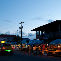 Late afternoon view of the central street of Colon Island in Bocas del Toro, Panama