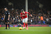 Charlton Athletic midfielder, Johann Berg Gudmundsson (7) free kick during the Sky Bet Championship match between Fulham and Charlton Athletic at Craven Cottage, London, England on 20 February 2016. Photo by Matthew Redman.