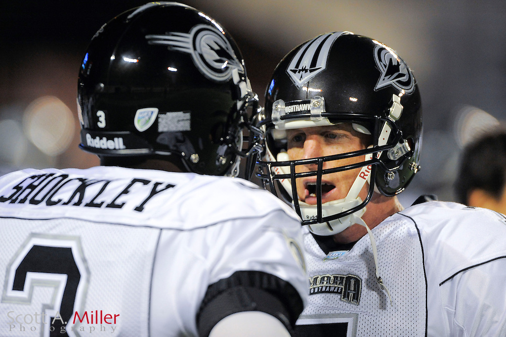 Omaha Nighthawks quarterback Jeff Garcia (7) talks with quarterback D. J. Shockley (3)during the Nighthawks game against the Florida Tuskers at the Florida Citrus Bowl on November 4, 2010 in Orlando, Florida. Florida won the game 31-14...©2010 Scott A. Miller