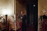 """8 May 2012, Palermo, Italy. Alberto Nicolino, a 41 years old actor, welcomes his audience before performing """"Orlando furioso raccontato dal mago Atlante"""" at the Nuovo Montevergini theatre in Palermo, Italy. Alberto, originally from Cinisello Balsamo (Milan), arrived in Palermo in 2004. ### 8 maggio 2012, Palermo, Italy. Alberto Nicolino, un attore di 41 anni, riceve il pubblico prima di interpretare """"Orlando furioso raccontato dal mago Atlante"""" al teatro del Nuovo Montevergini a Palermo. Alberto, originario di Cinisello Balsamo (MI), si è trasferito a Palermo nel 2004."""