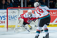KELOWNA, CANADA - JANUARY 17: Dillon Dube #19 of the Kelowna Rockets shoots the puck on Reece Klassen #31 of the Lethbridge Hurricanes on January 17, 2017 at Prospera Place in Kelowna, British Columbia, Canada.  (Photo by Marissa Baecker/Shoot the Breeze)  *** Local Caption ***