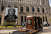 A giant wooden view camera art exhibition called Butterflies & Buffalo at Two North Riverside Plaza in Chicago, IL.