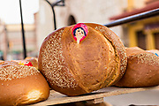 A Pan de Muerto, a special sweet bread for celebrating the Day of the Dead festival known in Spanish as Día de Muertos at Central de Abastos Market October 31, 2013 in Oaxaca, Mexico.