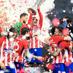 Antoine Griezmann of Atletico Madrid celebrate his victory with the trophy during the Europa League Final match between Marseille and Atletico Madrid at Groupama Stadium on May 16, 2018 in Lyon, France. (Photo by Anthony Dibon/Icon Sport)