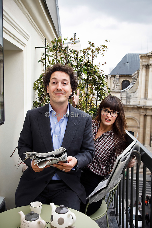 Guillaume Gallienne, comedien, auteur et metteur en scene français et societaire de la Comedie Francaise. Charlotte Le Bon, comedienne et mannequin quebecoise. A l'hotel Pradey, dans le 1e arrondissement de Paris, le 6 octobre 2011.