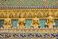 decorated walls grand palace Phra Mondop Bangkok Thailand