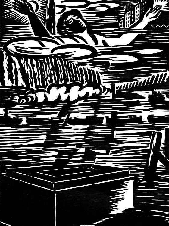 A black / white drawing that depicts watery grave