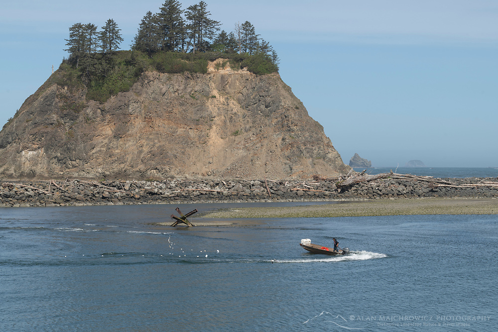 Quileute Tribe member fishing for salmon with gill nets, La Push Washington