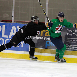 OAKVILLE, ON - Oct 28 : 2013 World Junior A Challenge / Defi Modial Junior A 2013, Taylor Best #9 of Team Canada East, Team Green / d'Équipe Canada Est, l'équipe Vert.<br /> (Photo by Brian Watts / OJHL Images)