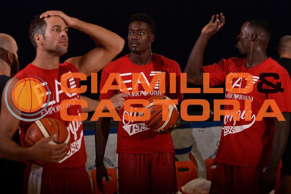 Bruno Cerella Awudu Abass Rakim Sanders <br /> EA7 Emporio Armani Olimpia Milano allenamento <br /> Lega Basket Serie A 2016/2017<br /> Bormio 26/08/2016<br /> Foto Ciamillo-Castoria