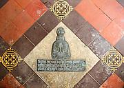 Brass memorial on floor inside church of Saint Nicholas, Berwick Bassett, Wiltshire, England, UK