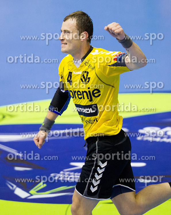 Fahrudin Melic of Gorenje celebrates during handball match between RK Gorenje Velenje (SLO) vs Bjerringbro-Silkeborg (DEN) in 4th Round of Group C of EHF Champions League 2012/13 on October 17, 2012 in Red hall, Velenje, Slovenia. (Photo By Vid Ponikvar / Sportida)