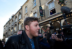 © Licensed to London News Pictures. 04/12/2012..Saltburn, England..X Factor finalist James Arthur visits his home town of Saltburn by the Sea in Cleveland. Accompanied by his mentor through the series, Nicole Scherzinger, they visited the Victoria Pub on Dundas Street in the town and were greeted by hundreds of people...Later that evening James Arthur was performing at the Middlesbrough Town Hall in front of local fans of the singer...Photo credit : Ian Forsyth/LNP