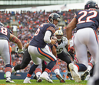 06 October 2013: Quarterback (6) Jay Cutler of the Chicago Bears turns to hand the ball off against the New Orleans Saints during the second half of the Saints 26-18 victory over the Bears in an NFL Game at Soldier Field in Chicago, IL.