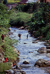POKHARA, NEPAL - OCTOBER 1992 - Daily life along a stream in the foothills of the Annapurna mountain range, near Pokhara, Nepal. (PHOTO © JOCK FISTICK)