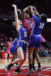 NORMAL, IL - February 10: Regan Wentland and Ty Battle double team and foul Simone Goods during a college women's basketball Play4Kay game between the ISU Redbirds and the Indiana State Sycamores on February 10 2019 at Redbird Arena in Normal, IL. (Photo by Alan Look)