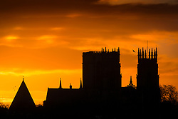 © Licensed to London News Pictures. 05/03/2019. York UK. York Minster at dawn this morning on what is expected to be a rainy day in Yorkshire. Photo credit: Andrew McCaren/LNP