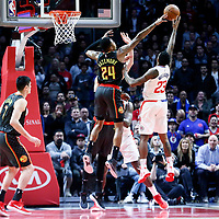 08 January 2018: LA Clippers guard Lou Williams (23) goes for the baby hook over Atlanta Hawks guard Kent Bazemore (24) during the LA Clippers 108-107 victory over the Atlanta Hawks, at the Staples Center, Los Angeles, California, USA.