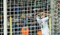 RSC Anderlecht's Alaksandar Mitrovic reacts after missing a penalty during the UEFA Champions League Group C soccer match between RSC Anderlecht and Olympiacos at Constant Vande Stock Stadium in Brussels, Belgium, 2 October 2013.